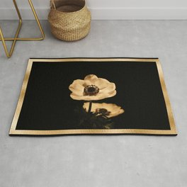 Anemone Flowers, Black with Golden Frame, Floral Nature Photography Rug