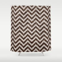 bisexual Shower Curtains featuring Sparkling glitter chevron pattern - coffee IV by Better HOME