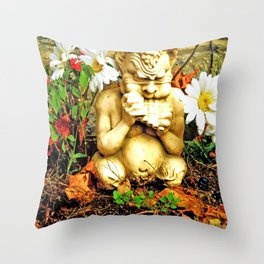 Mystical Flowers and Statue Throw Pillow