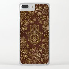 Decorative Hamsa Hand with paisley background Clear iPhone Case