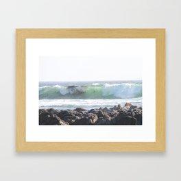 Curling Wave, California Coast with Seaweed Framed Art Print