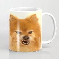 pomeranian Mugs featuring Cute Pomeranian dog by Bruce Stanfield