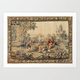 Aubusson  Antique French Tapestry Print Art Print