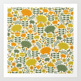 Autumn Hedgehog Forest Art Print