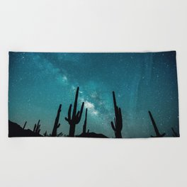 BLUE NIGHT SKY MILKY WAY AND DESERT CACTUS Beach Towel