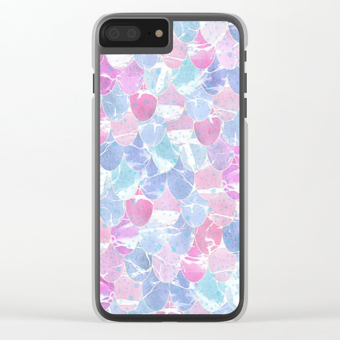 Abstract Mermaid Scales Pattern Clear iPhone Case