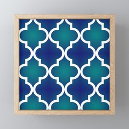 Quatrefoil - Teal and Blue Ombre Framed Mini Art Print