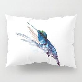 Hummingbird, Navy Blue Turquoise Artwork, minimalist bird art blue Pillow Sham