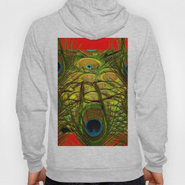 RED-GREEN PEACOCK FEATHERS ART Hoody