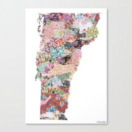 Vermont map Portrait Canvas Print