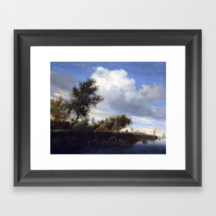 Salomon Van Ruysdael Ferry Near Gorinchem Framed Art Print