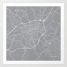 Athens Map, Georgia USA - Pewter Art Print