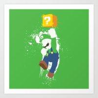 luigi Art Prints featuring Luigi Paint by The Daily Robot