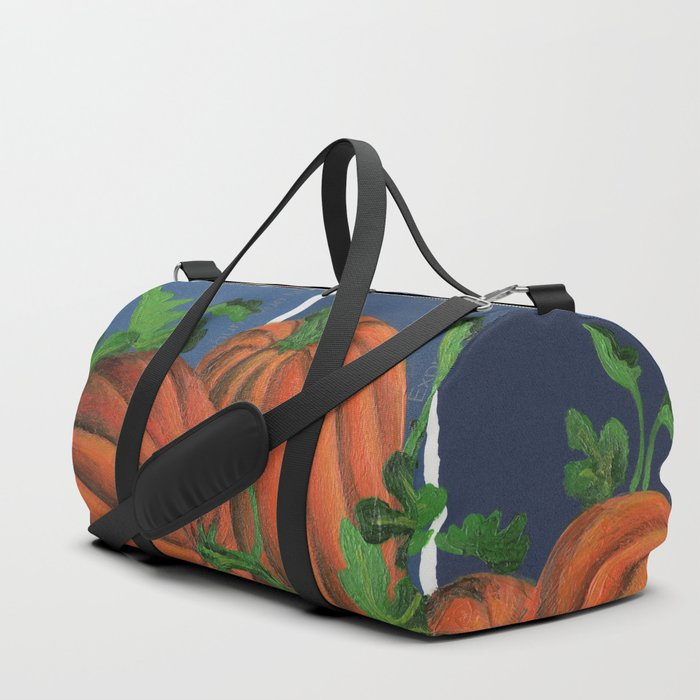 Pumpkin Patch at Night on Blues Duffle Bag