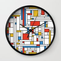 fibonacci Wall Clocks featuring Mondrian meets Fibonacci by Studio Fibonacci