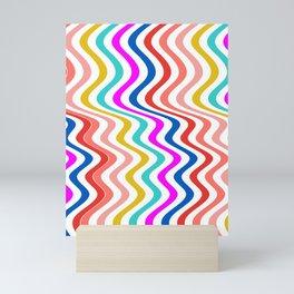 Stripe rainbow Swirl Mini Art Print