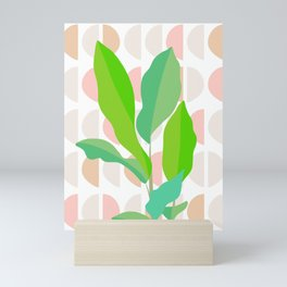 Sunny Banana leaves on Mid Century Modern pattern Mini Art Print