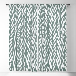 Herringbone pattern - moss green and white Blackout Curtain
