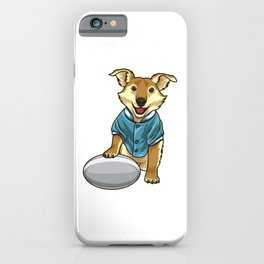 Dog guards Rugby Ball iPhone Case