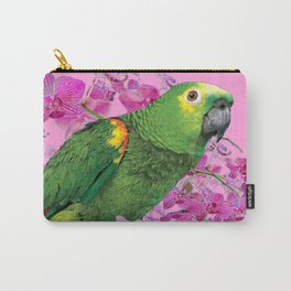 PINK TROPICAL GREEN PARROT & FUCHSIA ORCHIDS  ART Carry-All Pouch