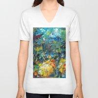 switzerland V-neck T-shirts featuring SWITZERLAND by Kelli Gedvil