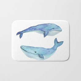 whale watercolor Bath Mat