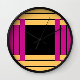 The intertwining pink and yellow ribbons Wall Clock
