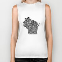 wisconsin Biker Tanks featuring Typographic Wisconsin by CAPow!