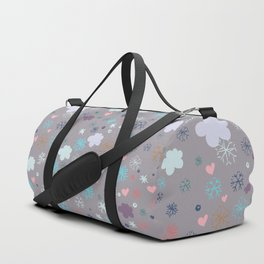 Rustic illustration flowers and clouds Duffle Bag