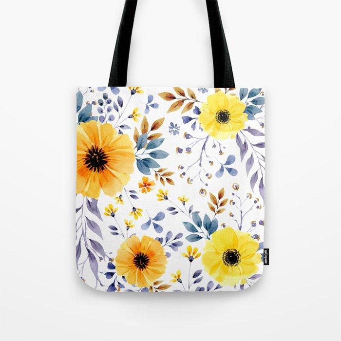Yellow watercolor flowers Tote Bag