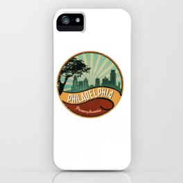 Philadelphia City Skyline Pennsylvania Retro Vintage Design iPhone Case