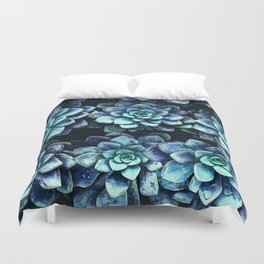 Blue And Green Succulent Plants Duvet Cover