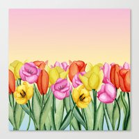 tulips Canvas Prints featuring Tulips by Julia Badeeva