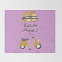 Roman Holiday, Audrey Hepburn,movie poster, Gregory Peck, William Wyler, romantic hollywood film Throw Blanket