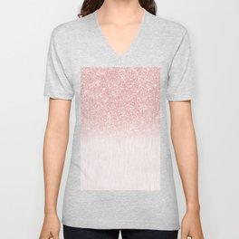 Elegant rose gold pink gradient glitter Unisex V-Neck