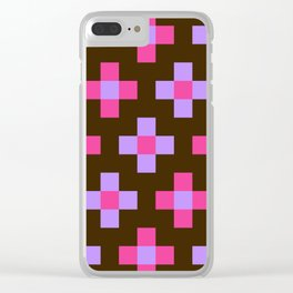 Pink Purple Retro Cross Clear iPhone Case