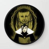 evil queen Wall Clocks featuring Evil Queen by pigboom el crapo