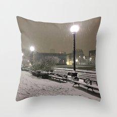Romantic Seattle Snow At Night Throw Pillow