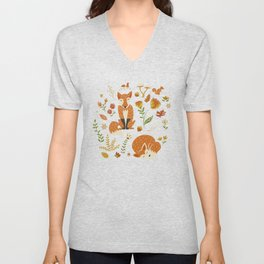 Foxes with Fall Foliage Unisex V-Neck