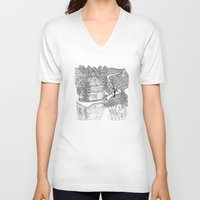 vermont V-neck T-shirts featuring Vermont Round Barn, Waitsfield Vermont by Vermont Greetings