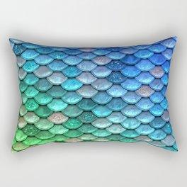 Aqua Teal & Green Shiny Mermaid Glitter Scales Rectangular Pillow