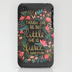 Little & Fierce on Charcoal iPhone (3g, 3gs) Slim Case