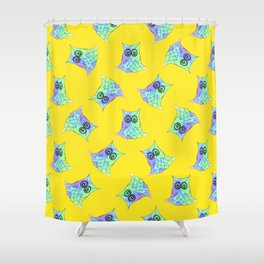 Topsy Turvy Owls Yellow Shower Curtain