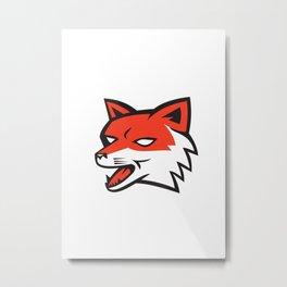 Red Fox Head Growling Retro Metal Print
