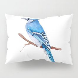 Watercolor illustration. Bright Blue Jay bird on white background. Pillow Sham