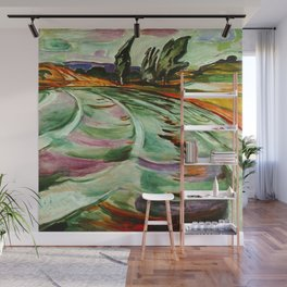 The Crashing Waves of the Coast nautical landscape painting by Edvard Munch Wall Mural
