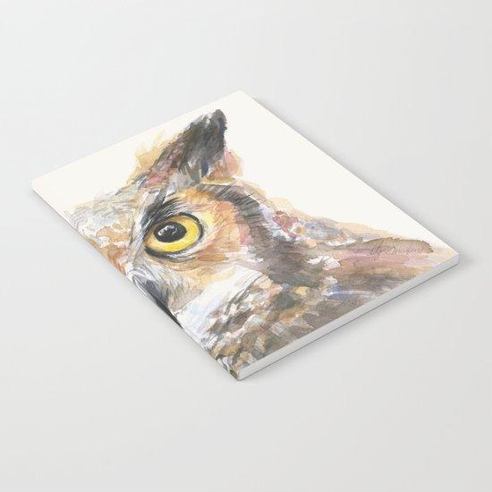 Owl Great Horned Bird Animals Notebook