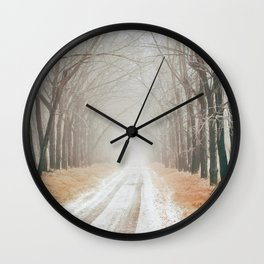 Winter on the road Wall Clock