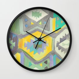 Kilim Me Softly in Turquoise Wall Clock