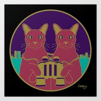 gemini Art Prints featuring gemini by Gray